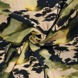 Viscose fabric - beige Ink forest x 10cm
