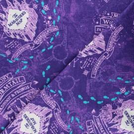 Harry Potter Licensed Flannel Fabric - purple Marauder's Map x 10cm