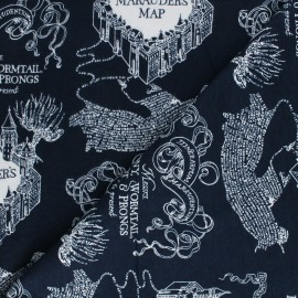 Harry Potter Licensed Flannel Fabric - night blue Marauder's Map x 10cm