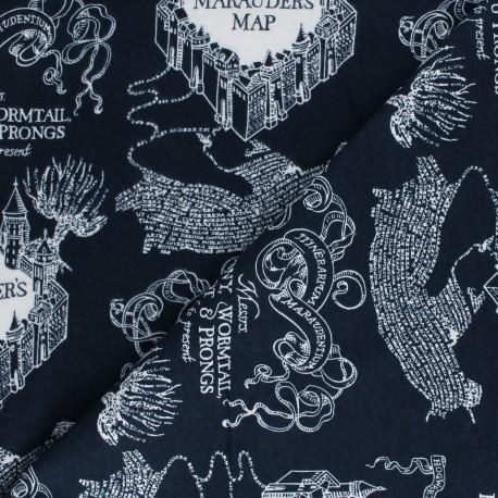 Tissu Flanelle Harry Potter Marauder's map - bleu nuit x 10cm