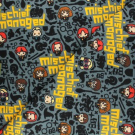Harry Potter Licensed Flannel Fabric - grey Mischief Managed x 10cm