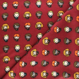 Licensed Bamboo Flannel Fabric - burgundy Harry Potter Lover x 10cm