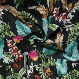 Cotton voile fabric - black Alocasia x 10cm