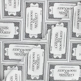 Tissu coton Harry Potter Poudlard Express - blanc x 10 cm