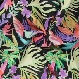 Cotton voile fabric - black Flower paradise x 10cm