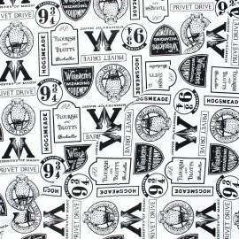 Harry Potter Cotton fabric - white Minalima Design x 10cm