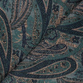 Tissu jacquard lurex Fantasia - bleu nuit x 10cm