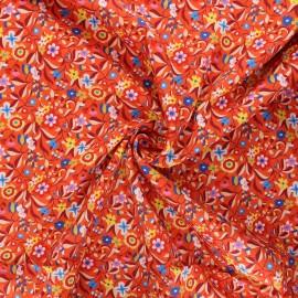 Tissu batiste de coton Dashwood Studio Kaleidoscope - Floral orange  x 10cm