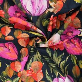 Cotton voile fabric - midnight blue Narcissus x 10cm