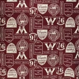 Harry Potter Cotton fabric - burgundy Minalima Design x 10cm