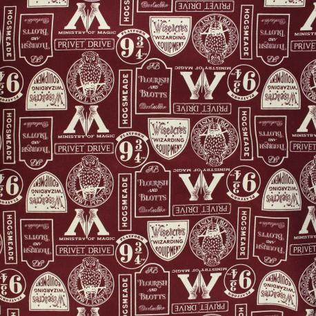 Tissu coton Harry Potter Minalima Design - blanc x 10 cm