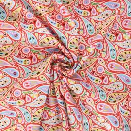 Tissu batiste de coton Dashwood Studio Kaleidoscope - Paisley rouge x 10cm
