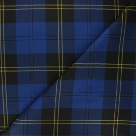 Tissu tartan Cowden - bleu roi/jaune x 10cm