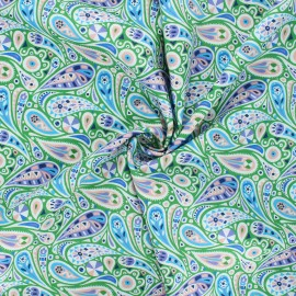 Tissu batiste de coton Dashwood Studio Kaleidoscope - Paisley vert x 10cm