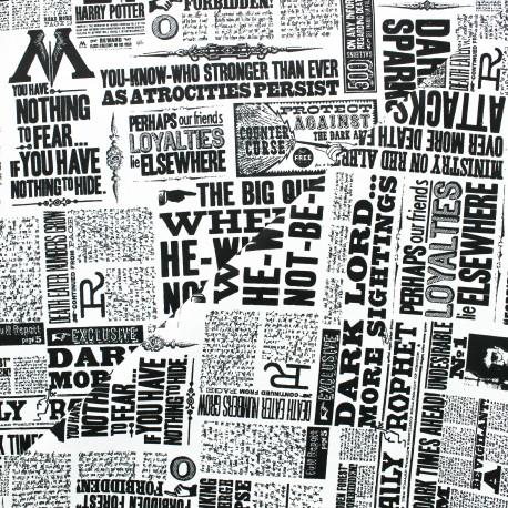 Tissu coton Harry Potter The Daily Prophet - blanc x 10 cm