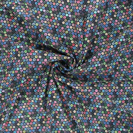 Elastane poplin cotton fabric - black Floral dots x 10cm