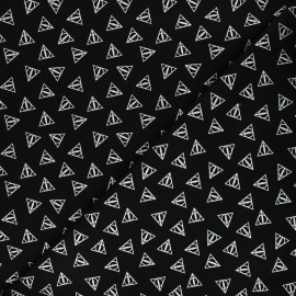 Harry Potter cotton fabric - black/silver Deathly hallows x 10cm