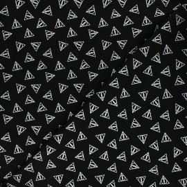 Tissu coton Harry Potter - Reliques de la mort - noir/argent x 10cm