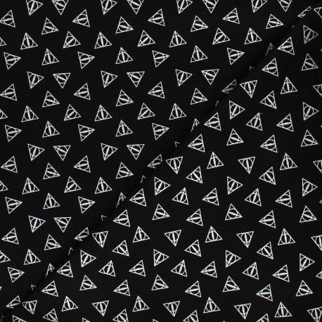 Tissu coton Harry Potter - Reliques de la mort - noir x 10cm