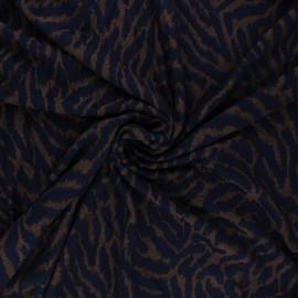 Tissu maille viscose dévoré Zebra - bleu nuit x 10cm