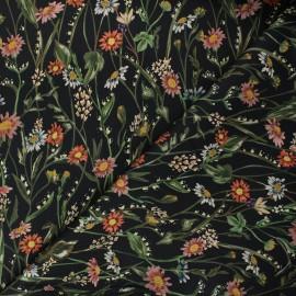 Tissu gabardine élasthanne Jardin d'automne - noir x 10cm