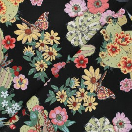 Alexander Henry cotton fabric - black Hacienda cactus x 10 cm