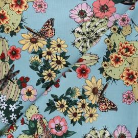 Alexander Henry cotton fabric - blue Hacienda cactus x 10 cm