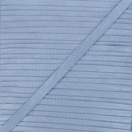 10mm satin elastic - steel blue Glow x 1m