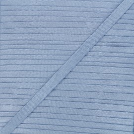 Elastique satin Glow 10mm - bleu acier x 1m
