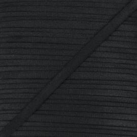 10mm satin elastic - black Glow x 1m