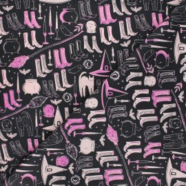 AGF cotton fabric - Spooky 'n Sweeter Witch's Wardrobe - black x 10cm