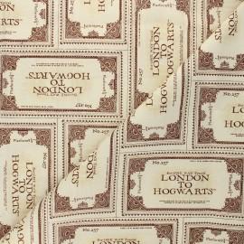 Tissu coton Harry Potter Poudlard Express - beige x 10 cm