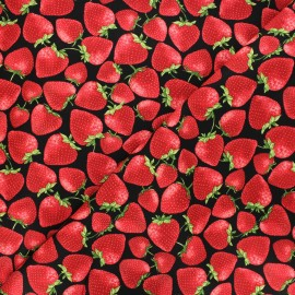 Timeless Treasures cotton fabric - red Tossed strawberries x 10cm