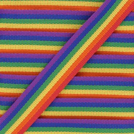 30 mm polyester strap - multicolor Rainbow x 1m