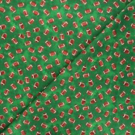 Tissu coton Timeless Treasures  - Footballs - vert x 10cm