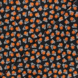 Timeless Treasures cotton fabric - black Basketballs x 10cm