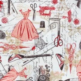 Tissu coton Timeless Treasures - Vintage dressmaking - blanc x 10cm