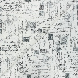 Timeless Treasures cotton fabric - raw Script x 10cm