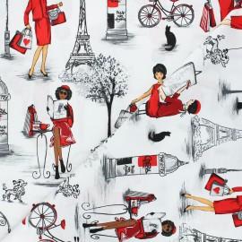 Tissu coton Timeless Treasures - Ladies in Paris - blanc x 10cm