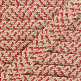 30 mm herringbone jute strap - red x 1m