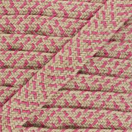 30 mm herringbone jute strap - pink x 1m