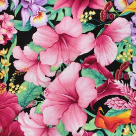 Timeless Treasures cotton fabric - black Tropical floral x 10cm