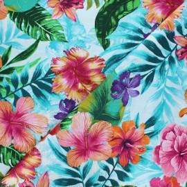 Timeless Treasures cotton fabric - blue Hibiscus x 10cm