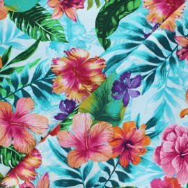 Tissu coton Timeless Treasures - Hibiscus - bleu x 10cm