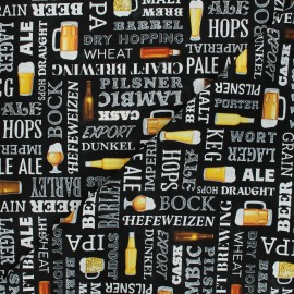Timeless Treasures cotton fabric - black Grab me a beer x 10cm