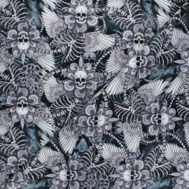 Timeless Treasures cotton fabric - black Skull fleur de lys x 10cm