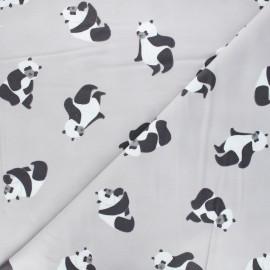 Dear Stella flannel fabric New here - grey Pandas x 10cm