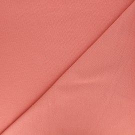 Tissu sweat léger Uni - rose corail x 10cm