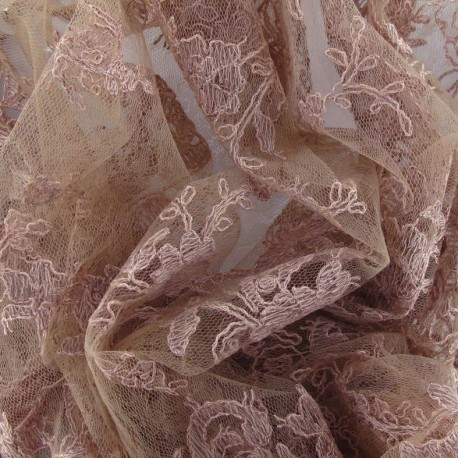 Annabelle Lace Fabric - old rose x 10cm