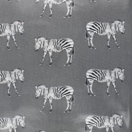Tissu coton enduit brillant Zèbre - gris x 10cm